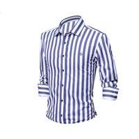 Men's Casual Shirts Stripe Blouse Shirt Social Masculina Dudalinas Long Sleeve Slim Fit Men Floral Clothing 100% Cotton Plus Size