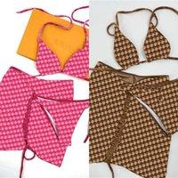 Flanell Badeanzug braun Rosa Bikini Frauen Mode Badebekleidung auf Lager dreiteilig Set Badeanzüge mit Pad-Tags