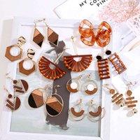 Hovanci New Fashion Digit Jewelry Handmade Окружающая среда Дружественная древесина Бамбуковая Геометрическая серьга ротанга для женщин