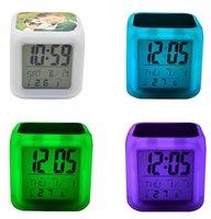 Relojes de mesa LED Sublimación en blanco Resplandor Electronics Dormitorio Cuadrado Dormitorio Colorido Remolque Reloj Niños 8 Tipos de tonos de llamada WWA284