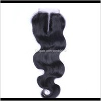 Бразильская волна тела средняя часть кружева верхняя часть закрытия 6a волос 4 * 4 отбеленные узлы верхние замыкания окрашиваемые наращивания человеческих волос IP3H8 QH6YF