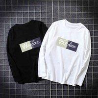 Homens de outono largo colarinho de manga comprida T-shirt impresso coringa. Preto. Branco. Cinza, homens