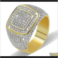 Couple Drop Delivery 2021 Hip Hop Rock Iced Out Bling Jewelry Ring Gold Color Micro Pave Cubic Zircon Rings 7,8,9,10,11 Five Sizes For Male G
