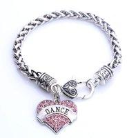 Moda di alta qualità placcato in rodio con cristalli scintillanti Dance Cuore di fascino braccialetto aragosta-claw-tappi link, catena