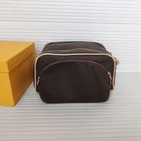 أعلى جودة الملك حجم أدوات الزينة حقائب رجل إضافي كبير غسل حقيبة التجميل المرحاض الحقيبة إمرأة الجمال ماكياج حالة pochette حقائب مزدوجة Zippy أطقم M47528 Glitter2009