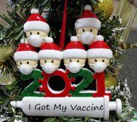 2021 Neue Weihnachtsdekoration Quarantäne Ornamente Familie von 1-7 Köpfe DIY Baum Anhänger Zubehör mit Seilharzbestand
