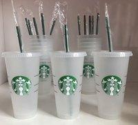Starbucks Mermaid Goddess 24oz 710ml Plastic Mugs Tumbler Reusable Clear Drinking Flat Bottom Pillar Shape Lid Straw Cups