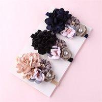 Balleenshiny Kwiat Księżniczka Pałąk Baby Girls Super Soft Cute Pearl Turban Headwear Dziecko Dzieciaki Moda Do Włosów Akcesoria Prezent 2606 Q2