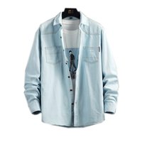 Men Shirt Casual 2 Pockets Loose Long Sleevle Turndown 100% Cotton Thick for Spring Autumn Solid Sky Blue Denim
