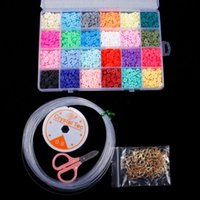 Charm Bracelets 4800pcs Handmade Color Jewelry Making Supplies Kit Accessories Flat Round Polymer Clay Spacer Beads DIY Necklace Set