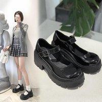 Brangdy 봄 가을 Rimocy 특허 가죽 메리 제인 여성 신발 Chunky Heel Platform Lolita Matte Shiny Dress