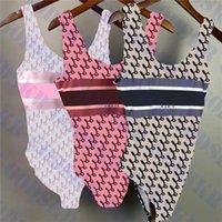Lüks Kadın Mayo Bikini Seti Tekstil Mektup Baskılı Bayanlar Bodysuit Mayo Plaj Partisi Bayan Yüzmek Takım