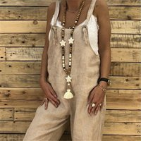 Women's Jumpsuits & Rompers Women Casual Cotton Linen Vintage Sling Jumpsuit Overalls Female Retro Harem Pants Ladies Loose Pocket Strap Tro