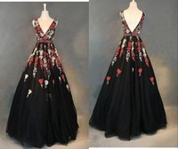 Sexy Black 3D Floral Red Flowers Evening Bridesmaid Dress V neck and Back A line Tulle Floor Length Prom Pageant Formal Cocktail Dresses