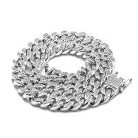 12 мм со льдом CZ кубинской цепной браслет золотой серебряный цвет замок застежка мужчин женщин бриллиант Miami Choker ожерелье хип-хоп ювелирные изделия