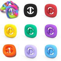 Rainbow Fidget Snapper Mano Agarra Agarra Snap Squeeze Toy Snapers Manos Fuerza Grabs Squesy Sensory Toys Autismo Alivio de Estrés Herramienta H31CWSV