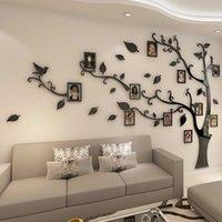 3D 아크릴 나무 사진 프레임 벽 스티커 크리스탈 거울 스티커 TV 배경 벽 DIY 가족 사진 프레임 벽 장식 SH190925에 붙여 넣기