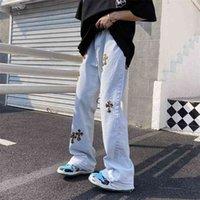 크로스 자수 청바지 남자 힙합 마이크로 플레어 바지 헐렁한 넓은 다리 여성 가로복 바지 스트레이트 210716