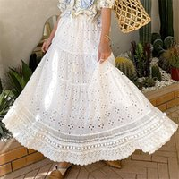 Skirts BOHO INSPIRED White Eyelet For Women Elastic Waist Tassel Tied Pom Trims Summer Skirt Long Bohemian Womens