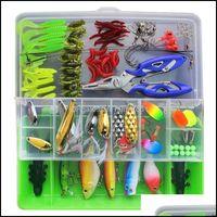 Sports & Outdoors101Pcs Lure Kit Set Vib Soft Hard Spoon Crank Baits Fishing Hooks Spinner Crankbait Minnow Tackle Box Aessories Drop Delive