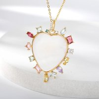 Pendant Necklaces Colorful Heart Zirconia Gold Silver Color Aesthetic Necklace For Women Choker 2021 Fashion Jewerly Collier Femme