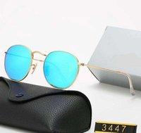 2021 clássico redondo marca ray design uv400 óculos ouro faixa de ouro quadro sol óculos homens espelho 3447 Óculos de sol polaroid lente de vidro