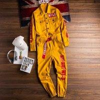 Jeans Mono Con Estampado De Letras Para Hombre Pantalones Cargo Trotar Ropa Trabajo Estilo Hip Hop Holgados Color Amari Mens