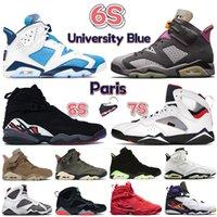 2021 الجامعة الأزرق 6 6S الرجال أحذية كرة السلة 7 7S بوردو الكهربائية الأخضر DMP UNC PARIS OLYMPIC 8 8S Playoffs Aqua Mens Sneakers