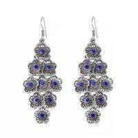 Vintage Layered Ethnic Flower Earrings For Women Statement Geometric Crystal Long Drop Dangle Earring Bohemian Jewelry Brincos