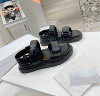 Femmes Femmes Sandales Diapositives Été Appartements Sexy Real Cuir Plate-forme Plate-forme Plateau Plat Chaussures Dames Beach Shoe Maison Diomor #