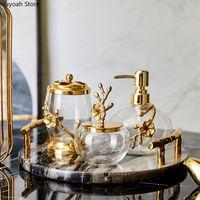Комплект аксессуаров для ванн Свет роскошные аксессуары для ванной комнаты Латунь прозрачный хрустальный стеклянный лосьон для хранения бутылки бутылки