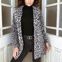 Women's Jackets 2021 Women Long Coat Cardigan Faux Fur Outwear Jacket Leopard Print Tops Fashion Winter Warm Ladies Clothes Femme Costume