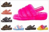 Moda luxo filhos filhos meninas designers botas de sandálias fluff yeah slide motlee liso amarelo pantoufle peludo chinelos slides flip flipyi #