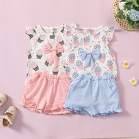 Clothing Sets Born Baby Girl Clothes Summer For Toddler Kids Linen Popcorn Bow Tops Tee Ruffles Shorts Outfits Dziewczyna Zestawy 2021