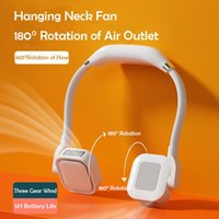 Electric Fans Portable Hanging Neck Fan 4000mah Bladeless Personal Mini Air Cooler Rechargeable Battery 180 Rotation