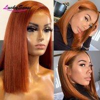 Lace Wigs Short Bob Front Wig Brazilian Remy 150% Orange Ginger Human Hair For Women 4X4 Closure