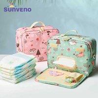 Sunen moda saco molhado saco à prova d 'água saco lavável tecido fralda bebê sacos reusável sacos molhados 23x18cm organizador para a mamã 210727