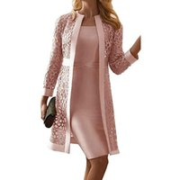 Women's Two Piece Pants 2 Pcs Satin Lace Mother Of The Bride Dresses Solid Long Sleeve Elegant Chiffon Dress Suits With Hollow Jacket Plus S