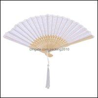 Händelse festliga tillbehör hem gardemboo vintage fan elegant handhållen kinesisk vikning spets hand fans (vit) fest favor dropp leverans 2021 z