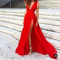 Kırmızı Uzun Abiye Yeni Varış Şifon V Boyun Seksi Yan Bölünmüş Kat Uzunluk Ünlü Elbise Custom Made En Çok Satan Bir Çizgi IACCS
