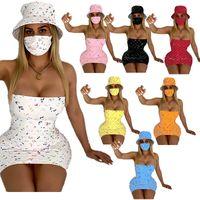 Luxo Designer Mulheres Vestido Chapéu Chapéu Cheio Carta Impresso Vestidos Sem Altais + Sol Chapéus 2 Peça Terno Bodycon Mini Saia Verão Outfits Roupas