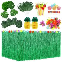 Pcs Tropical Party Decoration Set With Hawaiian Table Skirt Palm Leaves Flowers Tissue Pineapple Umbrellas And 3D F