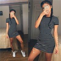 스트라이프 여름 여성 드레스 O 넥 짧은 소매 슬림 숙녀 드레스 캐주얼 중반 허리 섹시한 여성 의류
