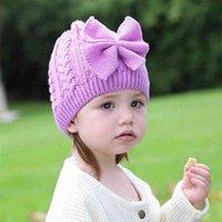 INS Kids girls corchet knitted winter beanie hats with side bow Twist braid slouchy knit skull caps headband hair wraps warm knitting outdoor ski headwear G99Z91H