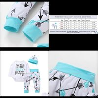 Clothing Baby, Kids & Maternity Baby Clothes Sets Infants Outfits Letters White Romper Long Sleeve+Arrow Printed Pant+Hat 3Pcs Set Autumn Dr