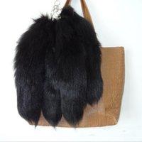 Flauschige schwarze Farbe Natürliche Echt Pelz Schlüsselanhänger Anhänger Schlüsselanhänger Nette Frauen Männer Niedlichen Fuchs Schwanz Tasche Charm A79