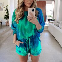 Women's Tracksuits Women Tie-Dye Print Tracksuit Casual Set Two Pieces Autumn Spring Long Sleeve Night Shirt Shorts Lounge Suit Clothes Shor