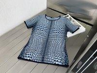 2021 Milan pist kazak o boyun kısa kollu kadın kazak yüksek son jakarlı hırka kadın tasarımcı t-shirt 0527-8