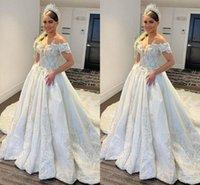 Luxurious Lace Beaded Wedding Dresses Sweetheart A-line Bridal Gowns Tulle Vintage Sweep Train Long Vestido De Noiva