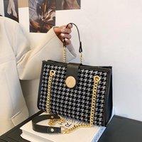 عبر الجسم Houndstooth 2 قطعة مجموعة حمل حقيبة دلو 2021 الأزياء عالية الجودة بو الجلود مصمم المرأة حقيبة يد السفر
